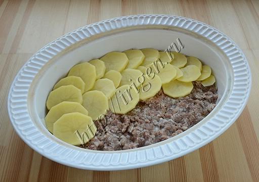 приготовление картофельной запеканки с фаршем