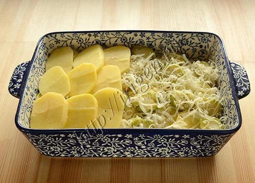 приготовление запеканки из картофеля и брюссельской капусты