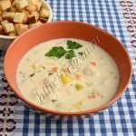 сырный суп с фрикадельками и кабачком