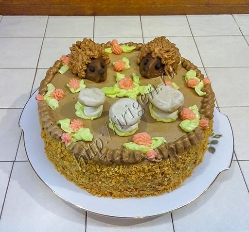 торт бисквитный грибная полянка