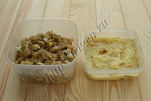 начинки из капусты с яйцом и из картофельного пюре с луком