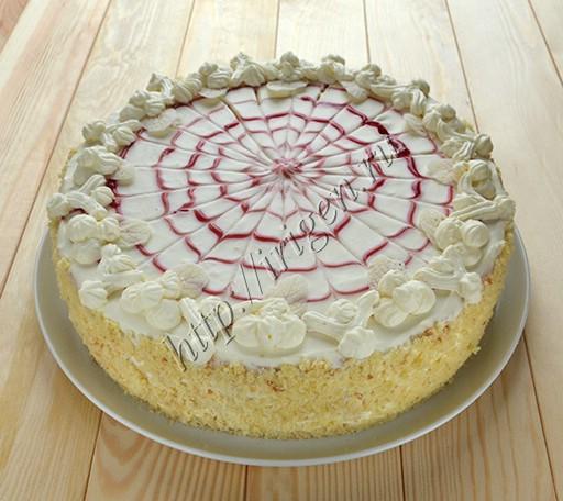 бисквитный торт малина-белый шоколад