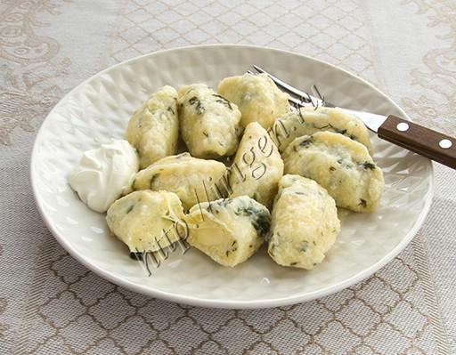 вареники ленивые с зеленью и сыром