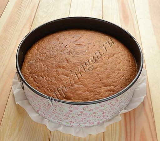 сметанный бисквит после выпечки