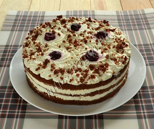 торт на кефире какао с вишней