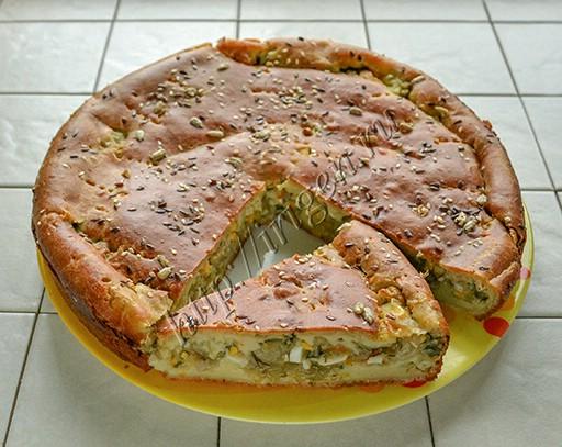 наливной пирог с капустой без масла