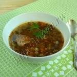 суп из индейки с баклажаном и чечевицей