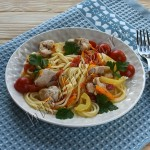 спагетти с курицей на сковороде