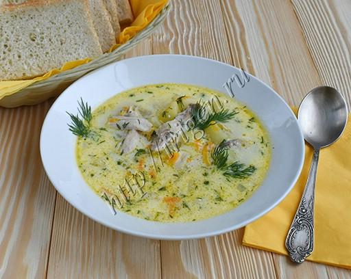 куриный суп с творожным сыром