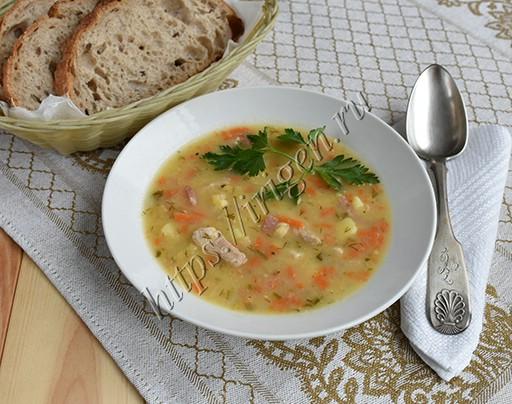 суп гороховый со свининой и колбасой в мультиварке