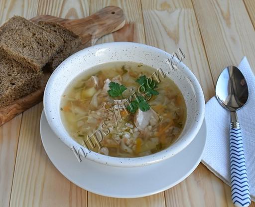 Суп из индейки с пшеном и капустой