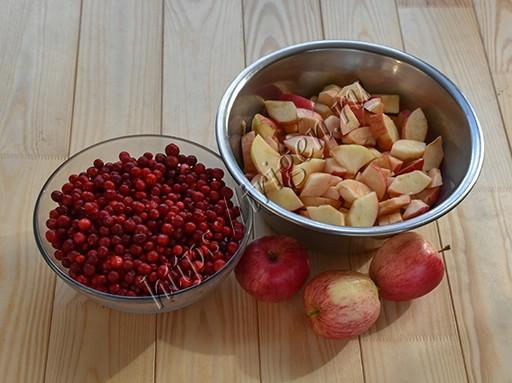 брусника и яблоки