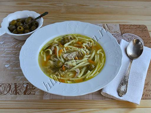 суп-лапша с оливками