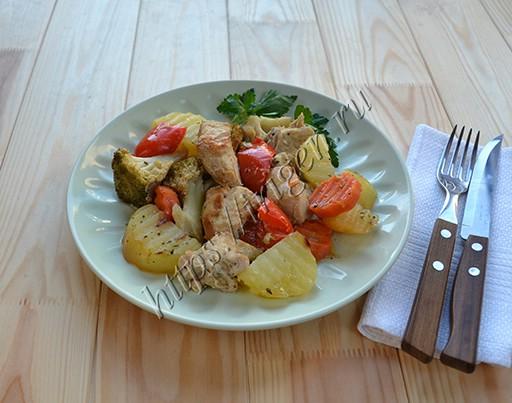 индейка с овощами в фольге