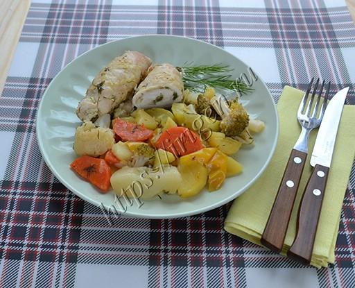 куриные рулетики с овощами в мультиварке