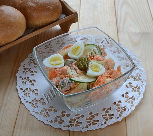 салат овощной с оливками