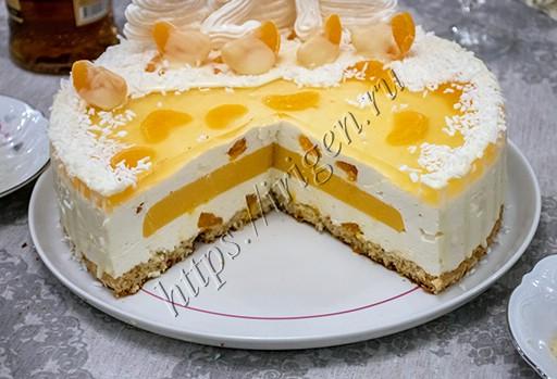 торт новогодний мандарин в разрезе