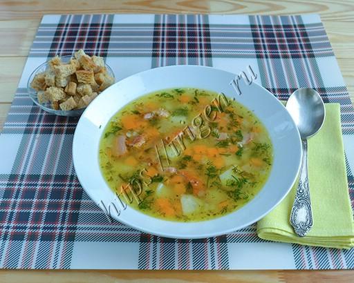 суп гороховый на копченых ребрах в мультиварке