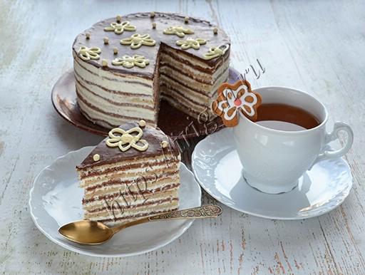 торт блинный полосатый