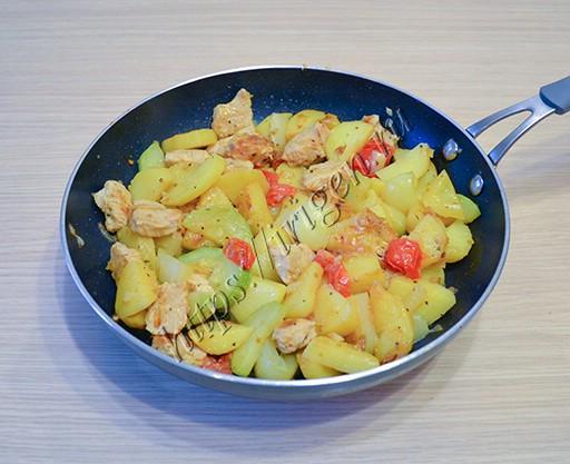 индейка с овощами на сковороде